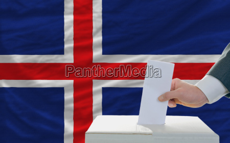 man voting on elections in iceland