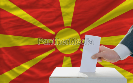 man voting on elections in macedonia