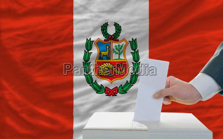 man voting on elections in peru