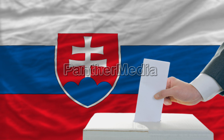 man voting on elections in slovakia