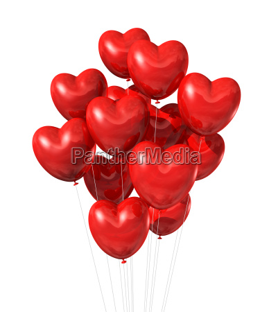 red heart shaped balloons isolated on