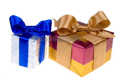 presents with ribbon isolated on white