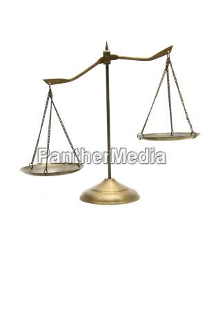 desequilibrio de escalas de bronce de