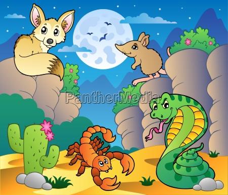 desert scene with various animals 5