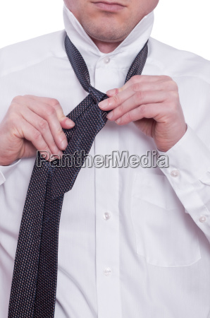 tie and two hands