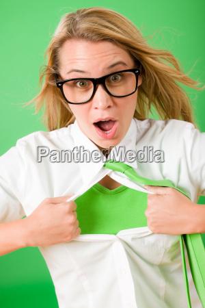 green superhero businesswoman crazy face