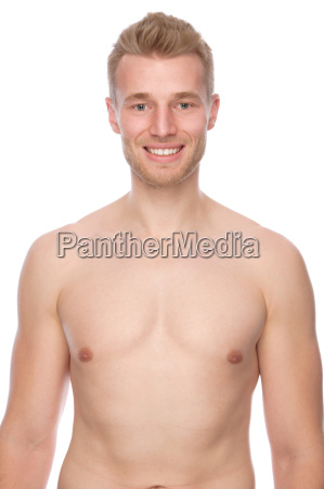 man with free upper body