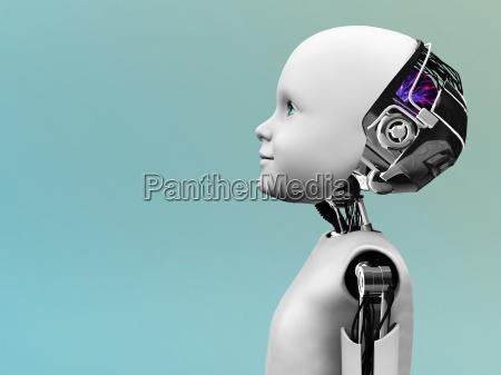 cabeza del robot del ninyo en