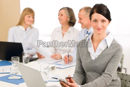 young executive woman use phone during