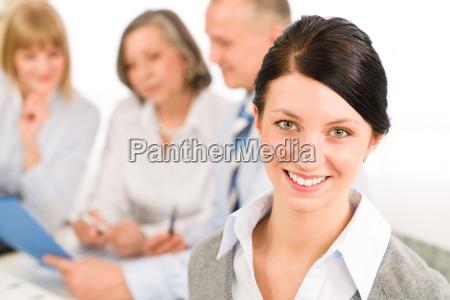young executive woman look camera during