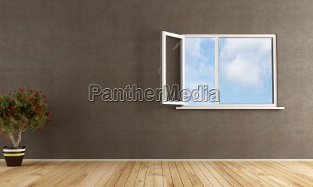 ventana espacio marron interior pavimento vacio