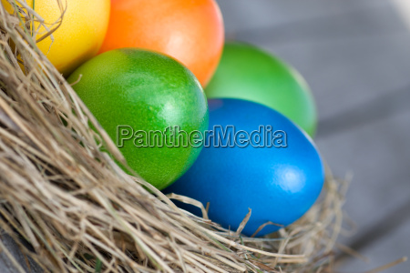 a group of colorful easter eggs