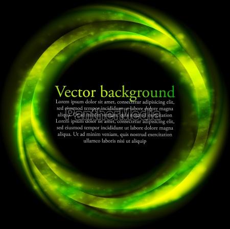 rign brillante verde sobre fondo negro