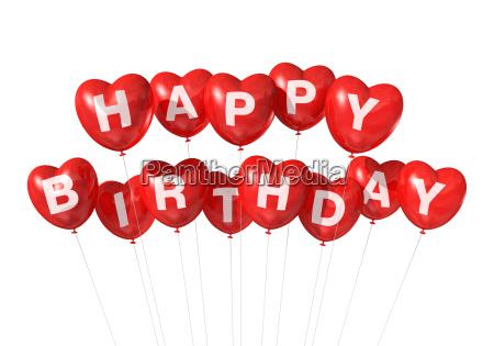 red happy birthday heart shape balloons