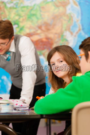 schoolchildren and teachers are learning at