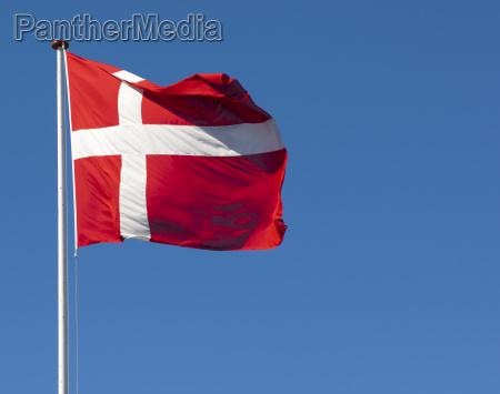 la bandera danesa dannebrog contra un