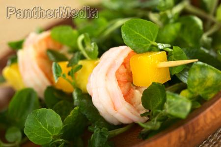 shrimp with watercress mango and avocado