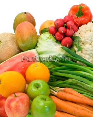 arreglo de hortalizas y frutas