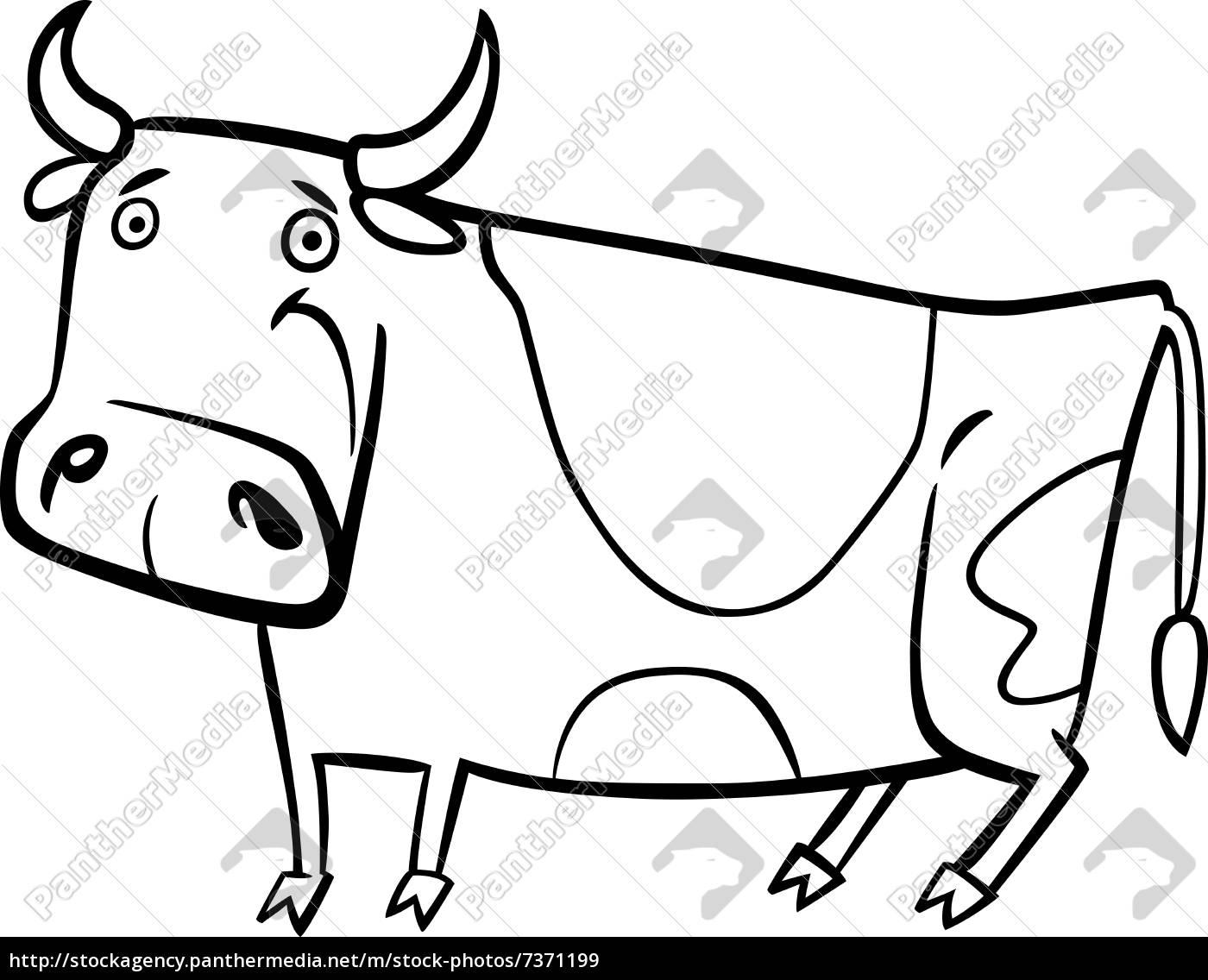 Royalty Free Imágen 7371199 Ilustración De Dibujos Animados De Vaca De Granja Para Colorear