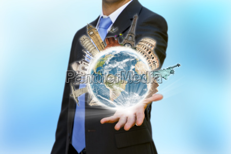 travel the world businessman concept