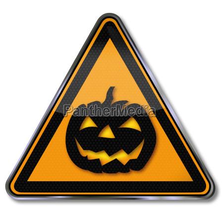 shield halloween and pumpkin