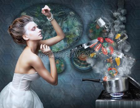 estufa ama de la cocina prepara