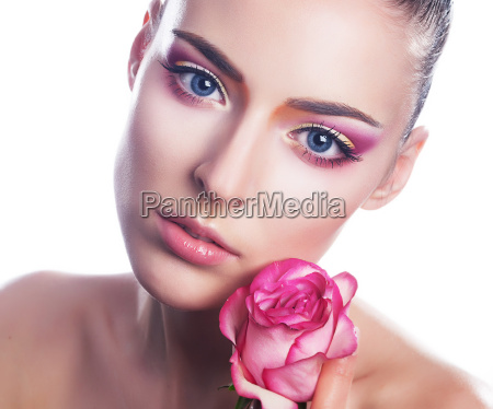 sensual belleza chica cara con flor