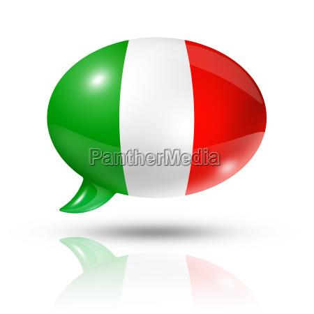 burbuja de voz de bandera italiana