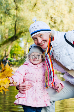 grandmother with the grand daughter in