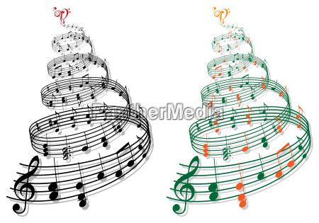 arbol con notas de musica