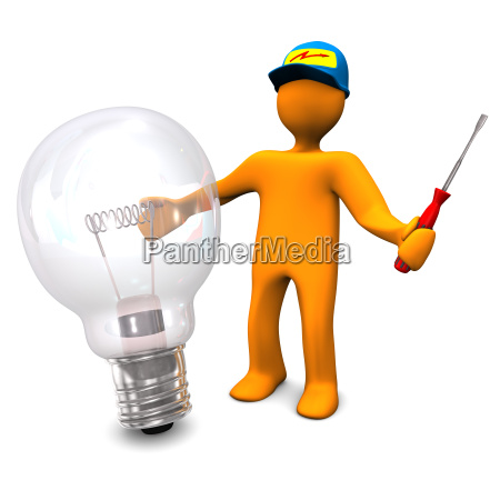 electrician with bulb
