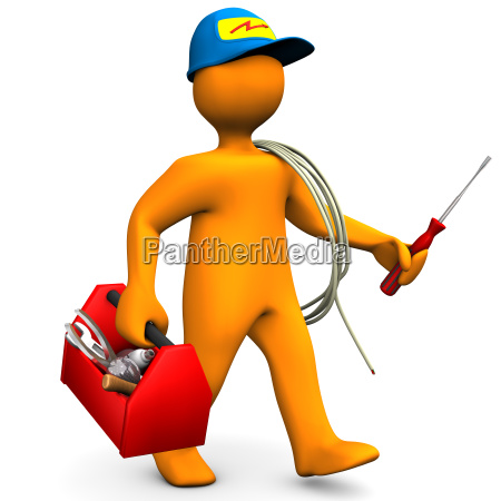 electrician with toolbox and cord