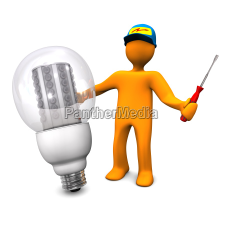 electrician with led bulb