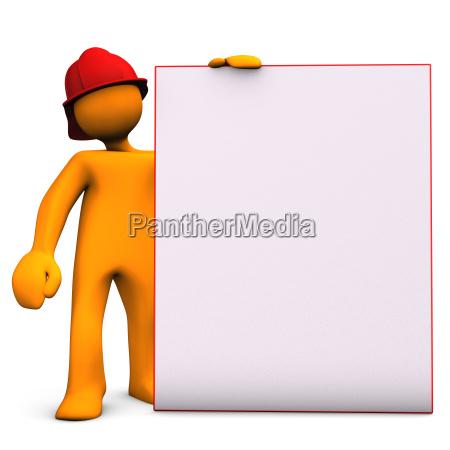 fireman con tablon de avisos