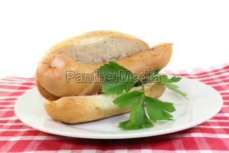 mostaza rollo perejil bockwurst carne salchicha