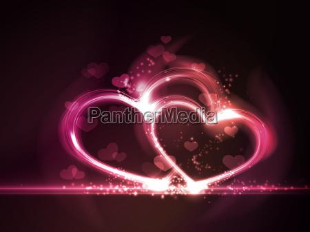 formas de corazon semitransparentes superpuestas con