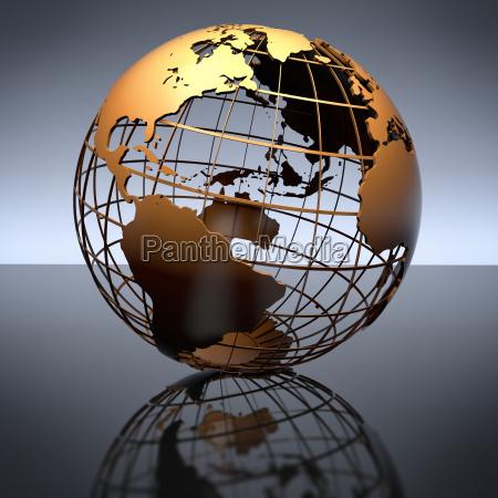 globo de metal sobre fondo reflectante