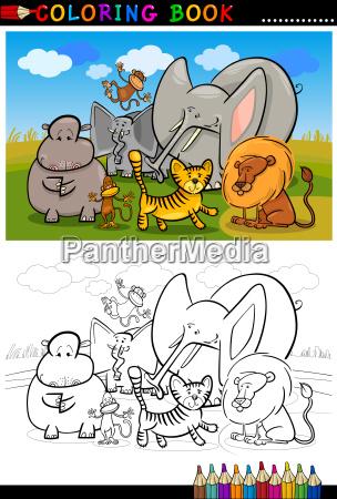 dibujos animados de animales salvajes africanos para - Stockphoto ...
