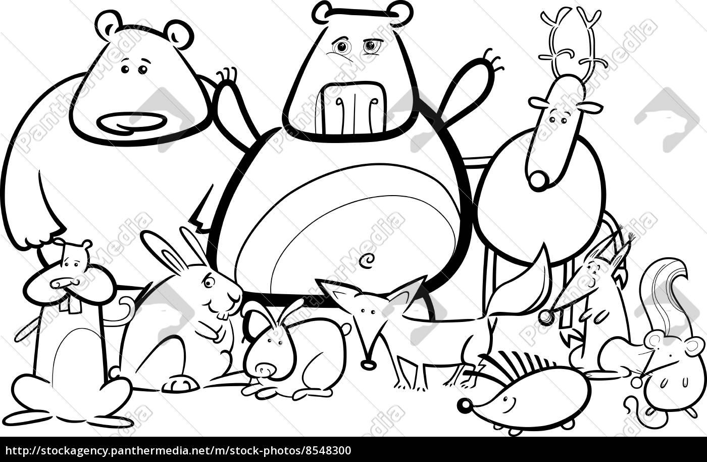 dibujo animado grupo de animales salvajes para colorear - Stockphoto ...