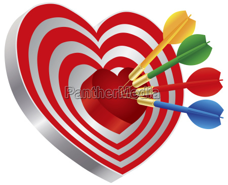 dardos en forma de corazon bullseye
