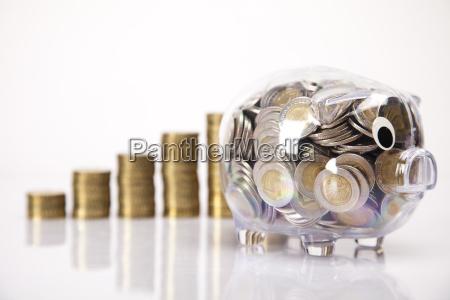 banco de cerdos y moneda de