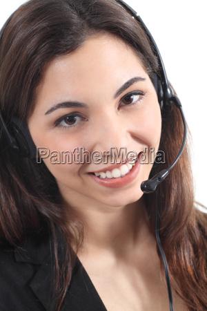 mujer medicina auriculares asistente operador empleado