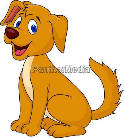 cortada sentado dibujo animado del perro