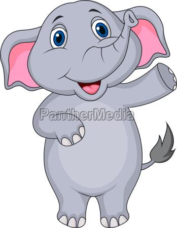 caricatura linda del elefante que agita