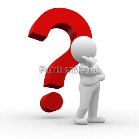 hombre pensar pensamientos marca pregunta pedir