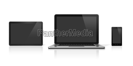 laptop mobile phone and digital tablet