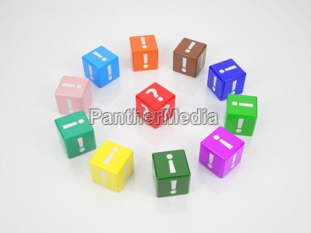 cubo rojo en el centro de