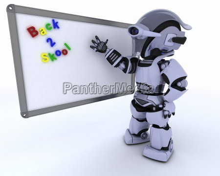 robot with white class room drywipe