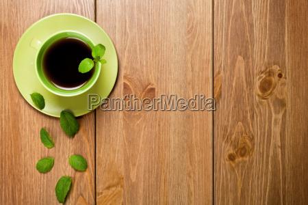 taza te hojas refrescos menta saludable