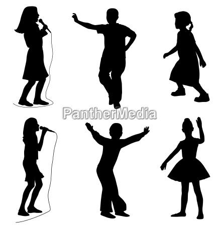 ninyos cantando bailando vector eps
